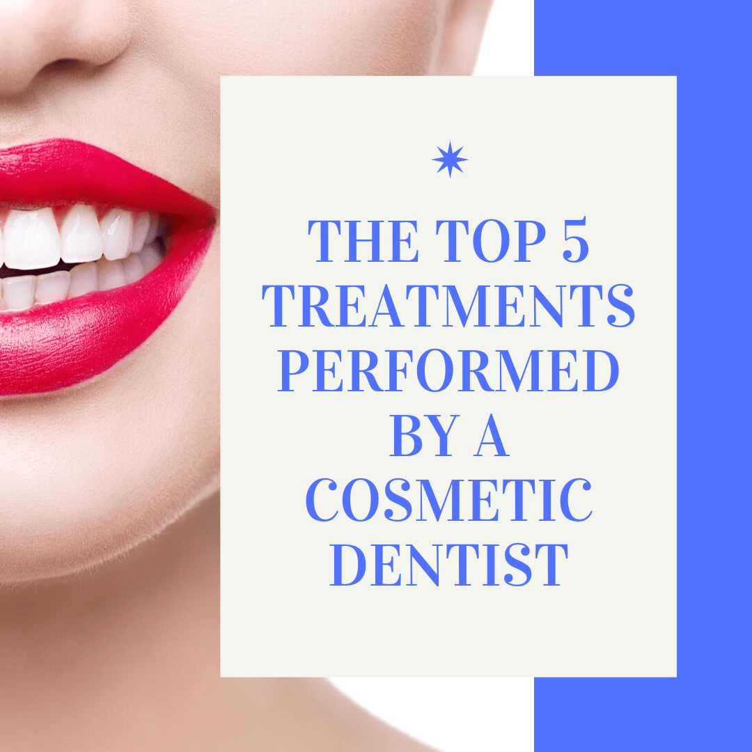 "Title banner for "" the top 5 treatments performed by a cosmetic dentist"""