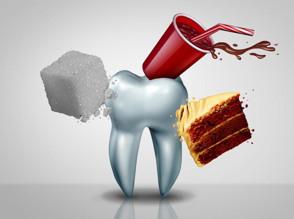 Giant tooth being attacked by sugar, cake, and soda